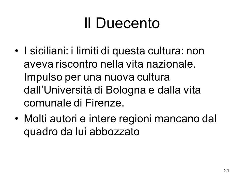 21 Il Duecento I siciliani: i limiti di questa cultura: non aveva riscontro nella vita nazionale. Impulso per una nuova cultura dallUniversità di Bolo