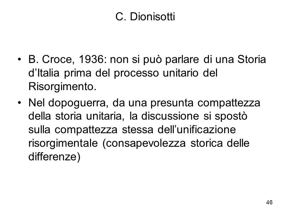 46 C. Dionisotti B. Croce, 1936: non si può parlare di una Storia dItalia prima del processo unitario del Risorgimento. Nel dopoguerra, da una presunt