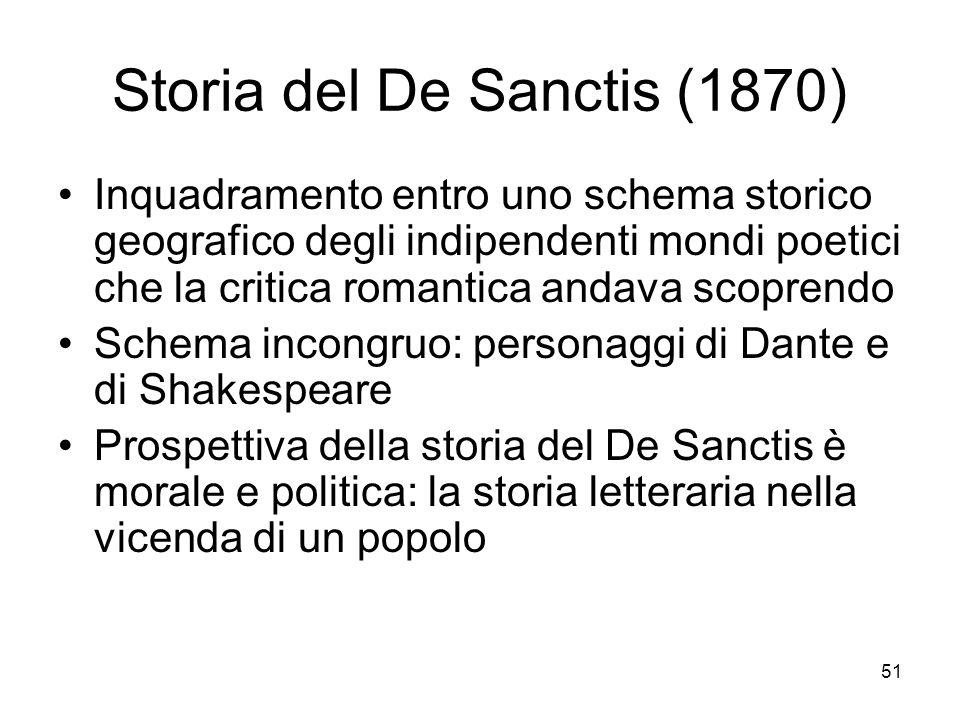 51 Storia del De Sanctis (1870) Inquadramento entro uno schema storico geografico degli indipendenti mondi poetici che la critica romantica andava sco