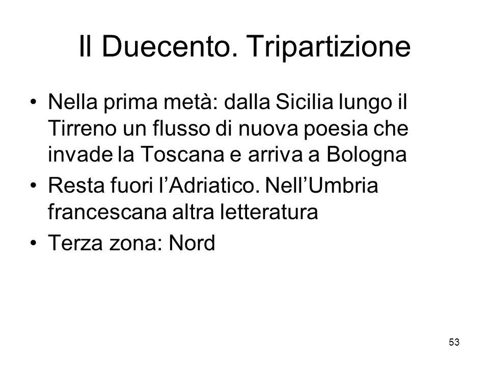 53 Il Duecento. Tripartizione Nella prima metà: dalla Sicilia lungo il Tirreno un flusso di nuova poesia che invade la Toscana e arriva a Bologna Rest