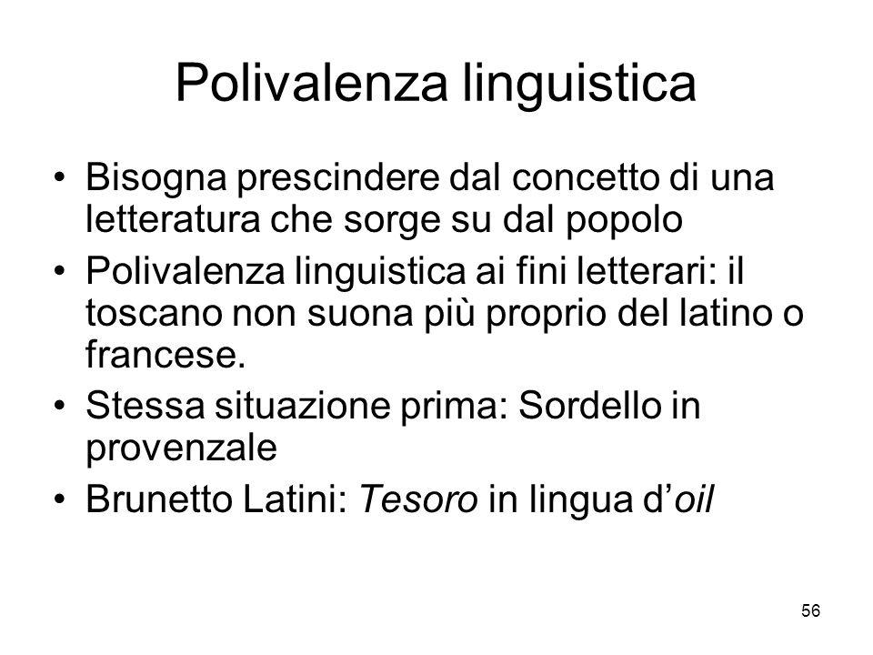 56 Polivalenza linguistica Bisogna prescindere dal concetto di una letteratura che sorge su dal popolo Polivalenza linguistica ai fini letterari: il t
