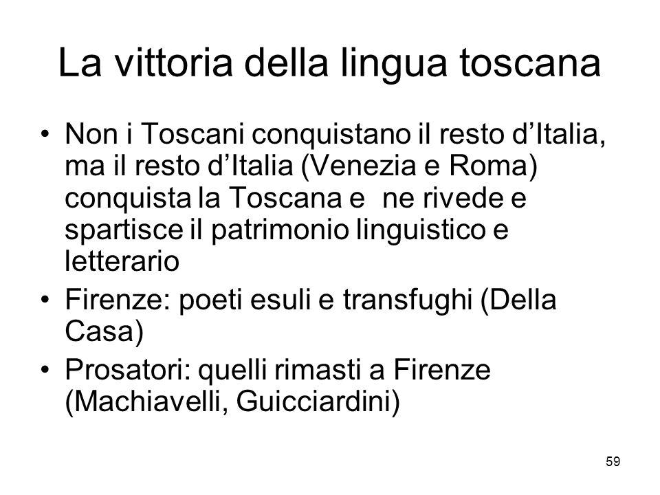 59 La vittoria della lingua toscana Non i Toscani conquistano il resto dItalia, ma il resto dItalia (Venezia e Roma) conquista la Toscana e ne rivede