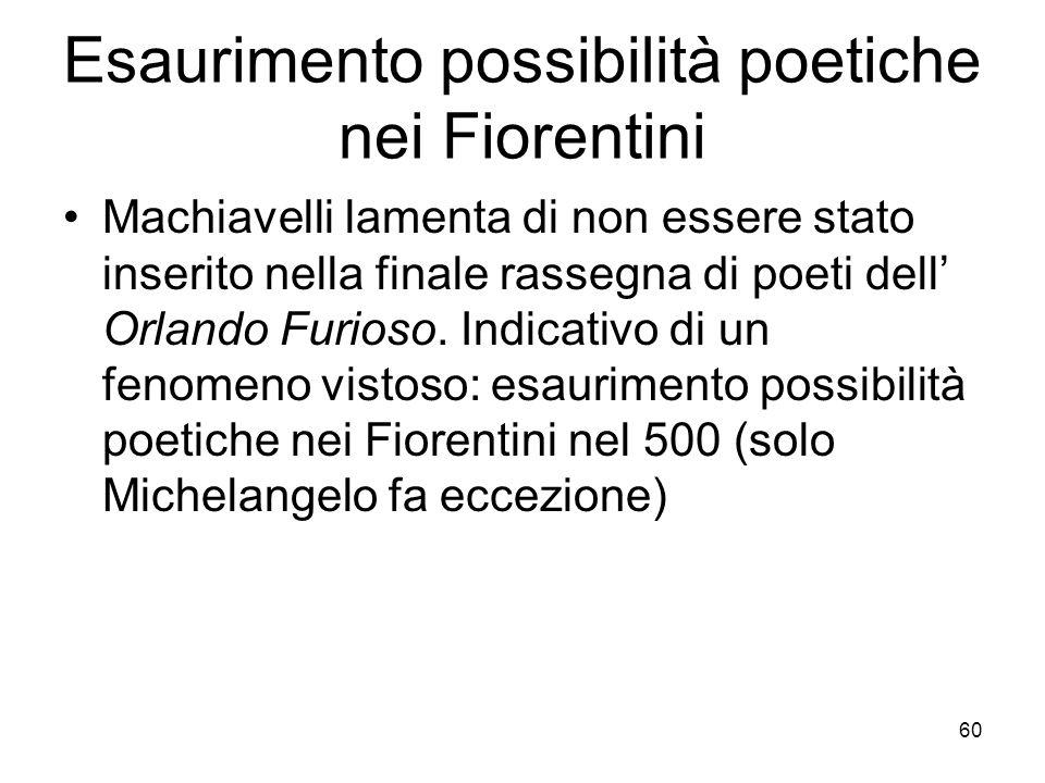 60 Esaurimento possibilità poetiche nei Fiorentini Machiavelli lamenta di non essere stato inserito nella finale rassegna di poeti dell Orlando Furios
