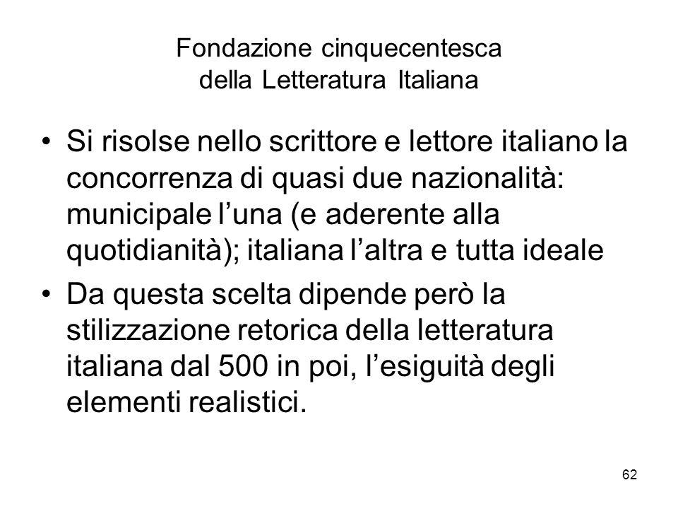 62 Fondazione cinquecentesca della Letteratura Italiana Si risolse nello scrittore e lettore italiano la concorrenza di quasi due nazionalità: municip