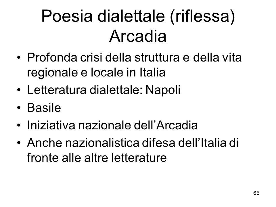 65 Poesia dialettale (riflessa) Arcadia Profonda crisi della struttura e della vita regionale e locale in Italia Letteratura dialettale: Napoli Basile
