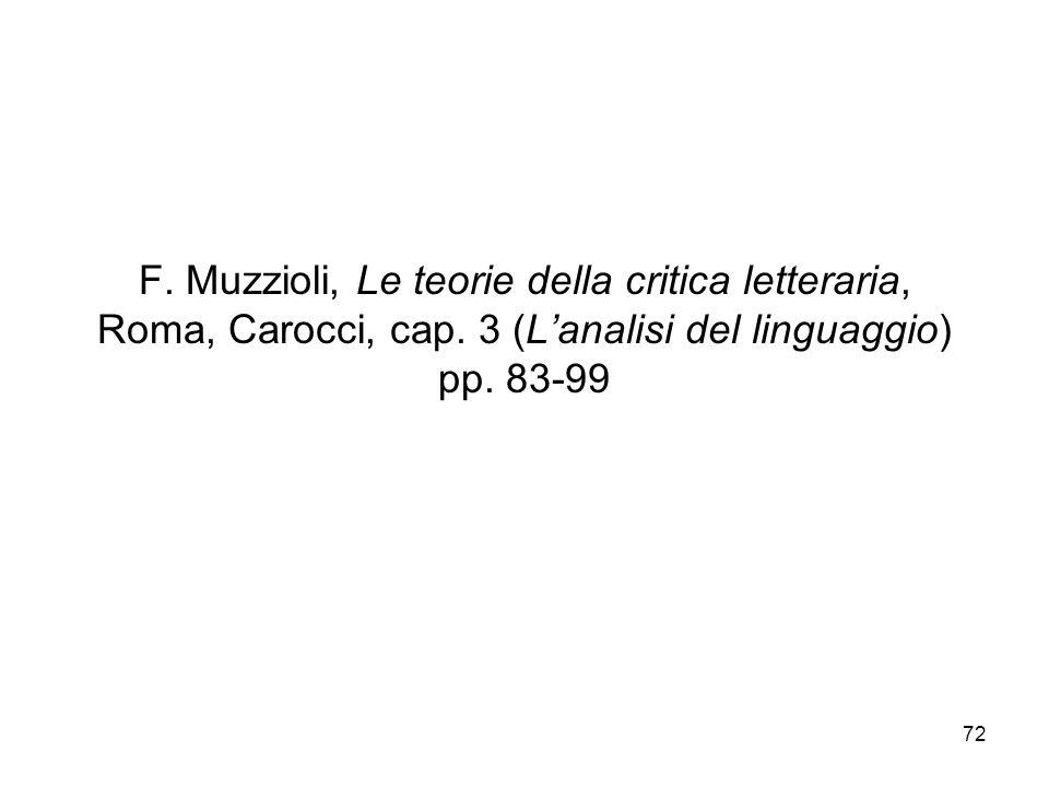 72 F. Muzzioli, Le teorie della critica letteraria, Roma, Carocci, cap. 3 (Lanalisi del linguaggio) pp. 83-99