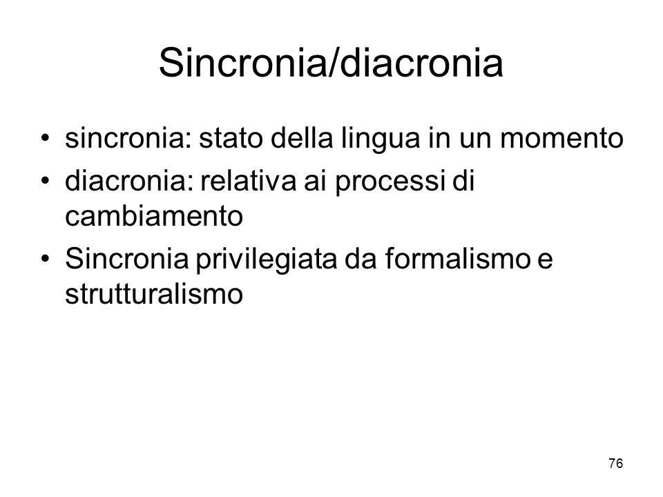 76 Sincronia/diacronia sincronia: stato della lingua in un momento diacronia: relativa ai processi di cambiamento Sincronia privilegiata da formalismo