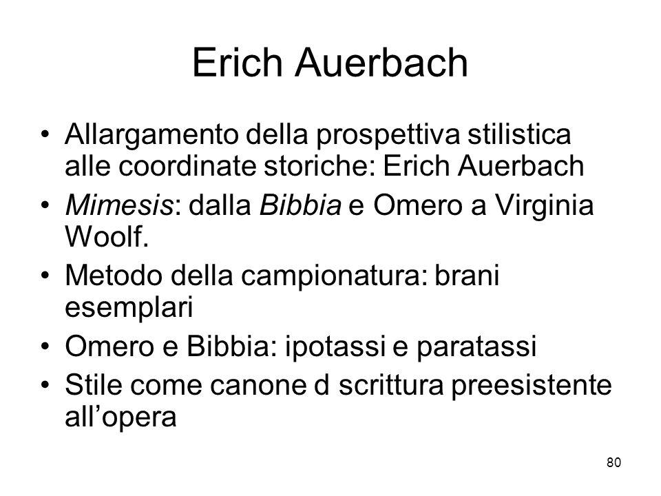 80 Erich Auerbach Allargamento della prospettiva stilistica alle coordinate storiche: Erich Auerbach Mimesis: dalla Bibbia e Omero a Virginia Woolf. M