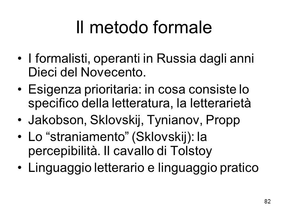 82 Il metodo formale I formalisti, operanti in Russia dagli anni Dieci del Novecento. Esigenza prioritaria: in cosa consiste lo specifico della letter