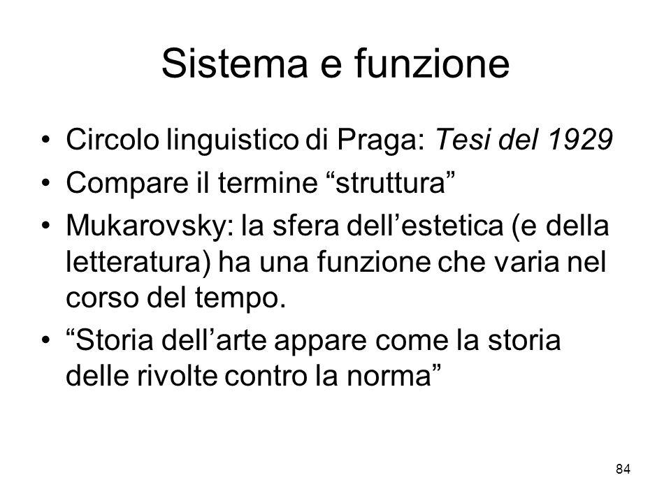 84 Sistema e funzione Circolo linguistico di Praga: Tesi del 1929 Compare il termine struttura Mukarovsky: la sfera dellestetica (e della letteratura)