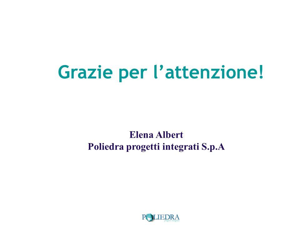 Grazie per lattenzione! Elena Albert Poliedra progetti integrati S.p.A