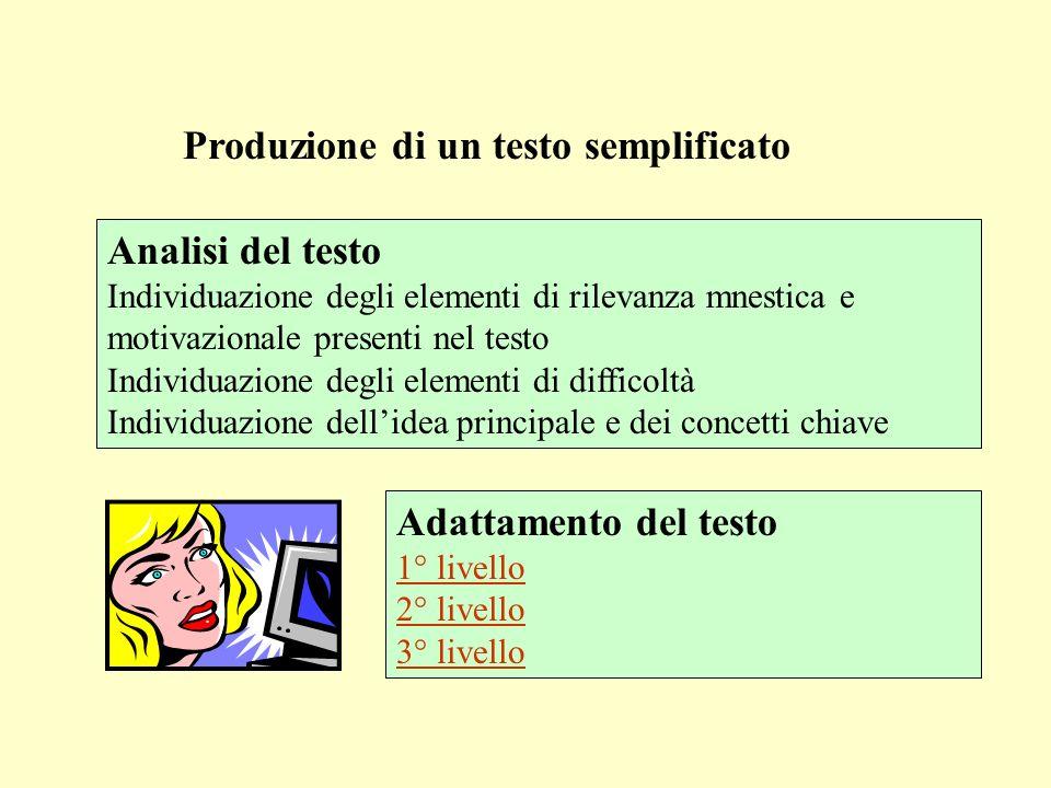 Produzione di un testo semplificato Analisi del testo Individuazione degli elementi di rilevanza mnestica e motivazionale presenti nel testo Individua