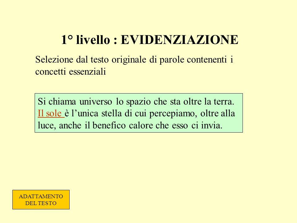 1° livello : EVIDENZIAZIONE Selezione dal testo originale di parole contenenti i concetti essenziali Si chiama universo lo spazio che sta oltre la ter