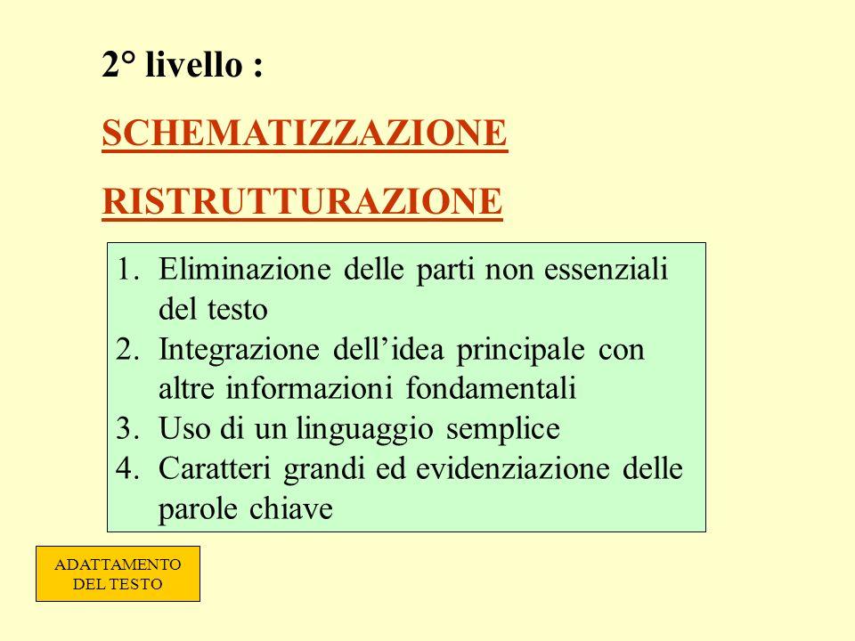2° livello : SCHEMATIZZAZIONE RISTRUTTURAZIONE 1.Eliminazione delle parti non essenziali del testo 2.Integrazione dellidea principale con altre inform