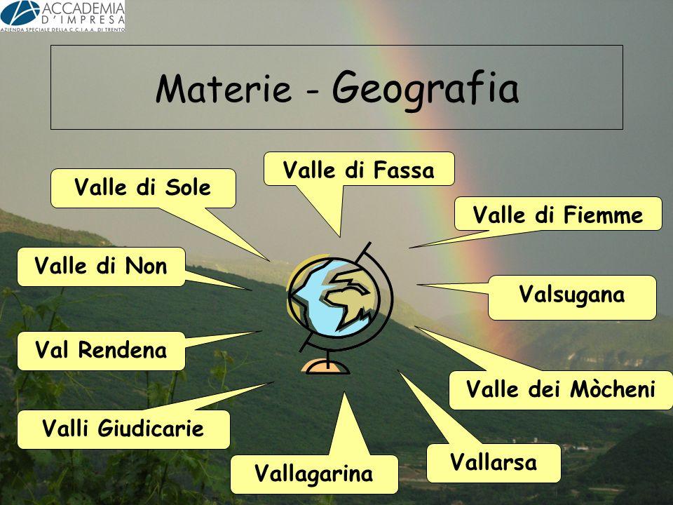 Materie - Geografia Valle di Fiemme Valle dei Mòcheni Vallagarina Vallarsa Valli Giudicarie Valle di Non Valle di Sole Valsugana Valle di Fassa Val Re