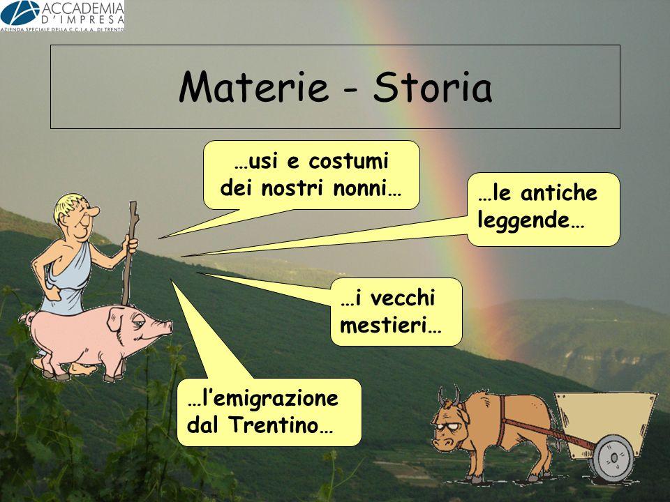 Materie - Storia …lemigrazione dal Trentino… …usi e costumi dei nostri nonni… …le antiche leggende… …i vecchi mestieri…