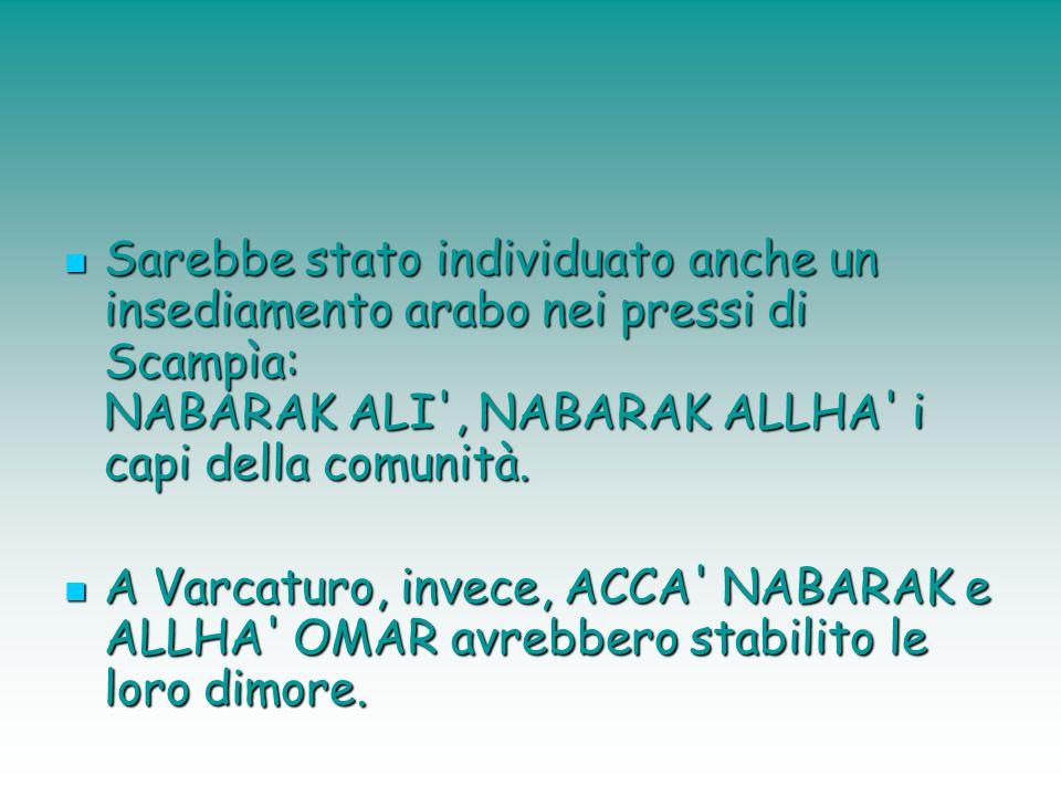 Sarebbe stato individuato anche un insediamento arabo nei pressi di Scampìa: NABARAK ALI , NABARAK ALLHA i capi della comunità.