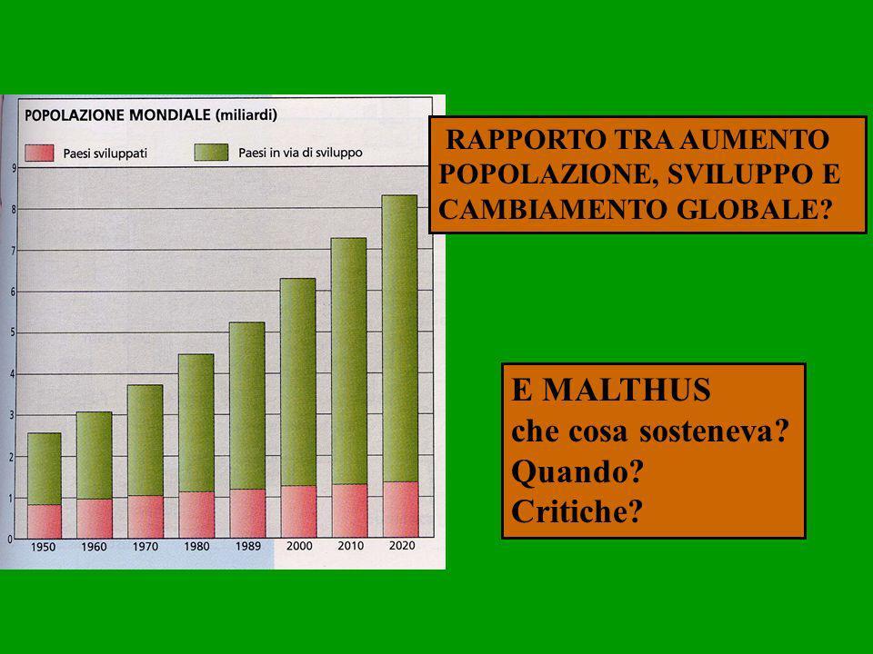 RAPPORTO TRA AUMENTO POPOLAZIONE, SVILUPPO E CAMBIAMENTO GLOBALE? E MALTHUS che cosa sosteneva? Quando? Critiche?
