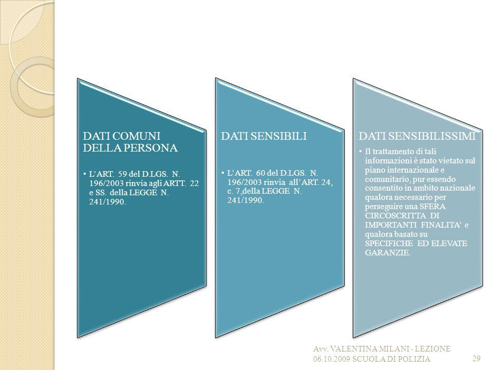 DATI COMUNI DELLA PERSONA LART. 59 del D.LGS. N. 196/2003 rinvia agli ARTT. 22 e SS. della LEGGE N. 241/1990. DATI SENSIBILI LART. 60 del D.LGS. N. 19