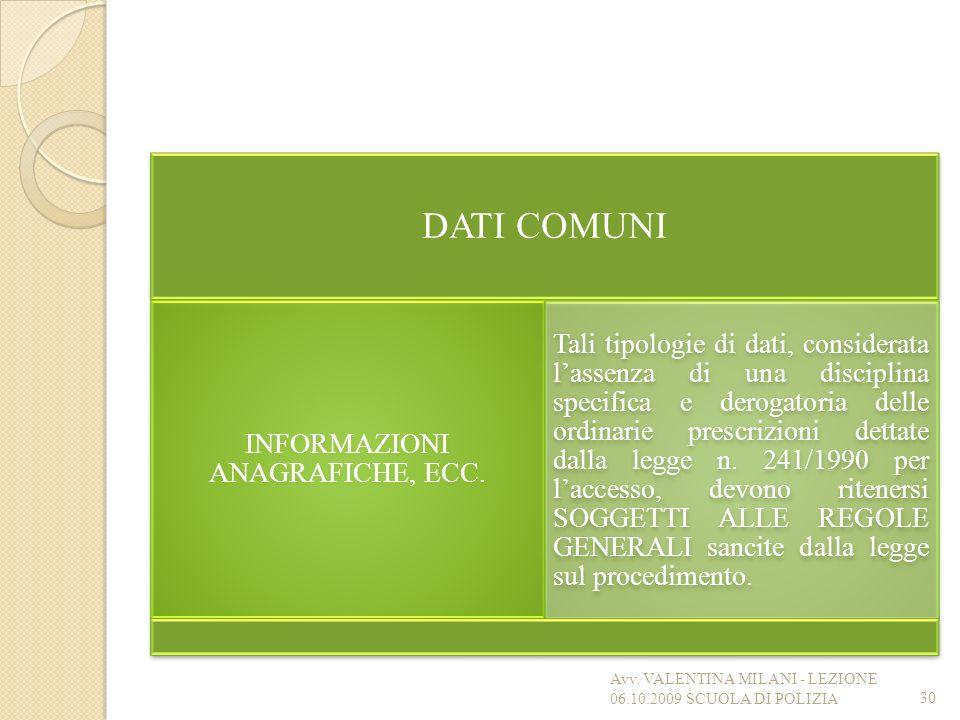DATI COMUNI INFORMAZIONI ANAGRAFICHE, ECC. Tali tipologie di dati, considerata lassenza di una disciplina specifica e derogatoria delle ordinarie pres