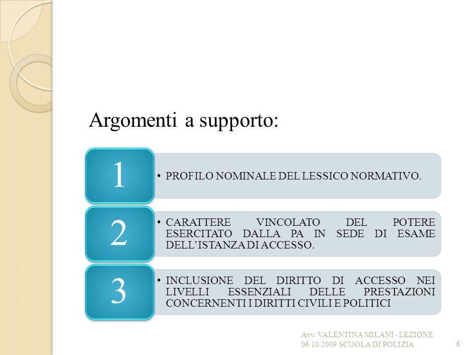 Argomenti a supporto: 6 PROFILO NOMINALE DEL LESSICO NORMATIVO. 1 CARATTERE VINCOLATO DEL POTERE ESERCITATO DALLA PA IN SEDE DI ESAME DELLISTANZA DI A