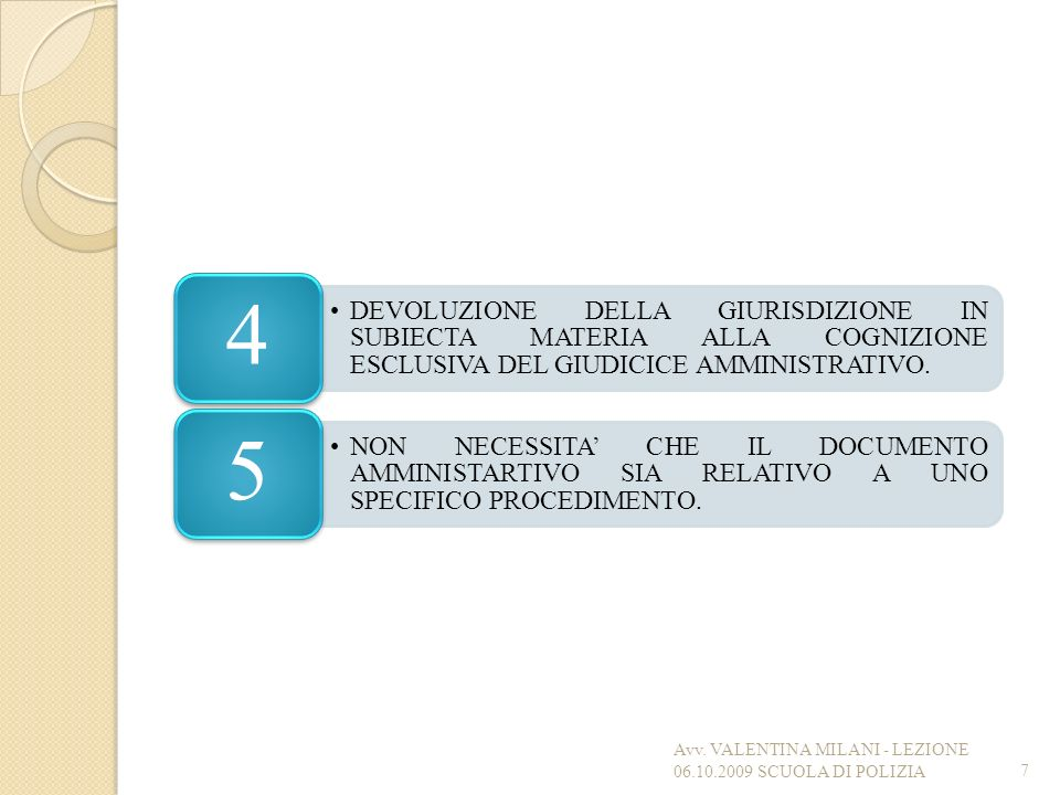 DEVOLUZIONE DELLA GIURISDIZIONE IN SUBIECTA MATERIA ALLA COGNIZIONE ESCLUSIVA DEL GIUDICICE AMMINISTRATIVO. 4 NON NECESSITA CHE IL DOCUMENTO AMMINISTA