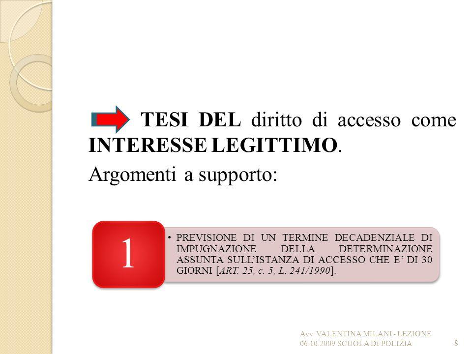 TESI DEL diritto di accesso come INTERESSE LEGITTIMO. Argomenti a supporto: 8 PREVISIONE DI UN TERMINE DECADENZIALE DI IMPUGNAZIONE DELLA DETERMINAZIO