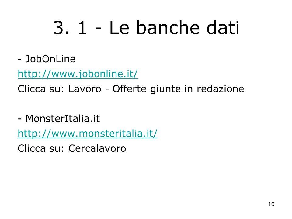 10 3. 1 - Le banche dati - JobOnLine http://www.jobonline.it/ Clicca su: Lavoro - Offerte giunte in redazione - MonsterItalia.it http://www.monsterita
