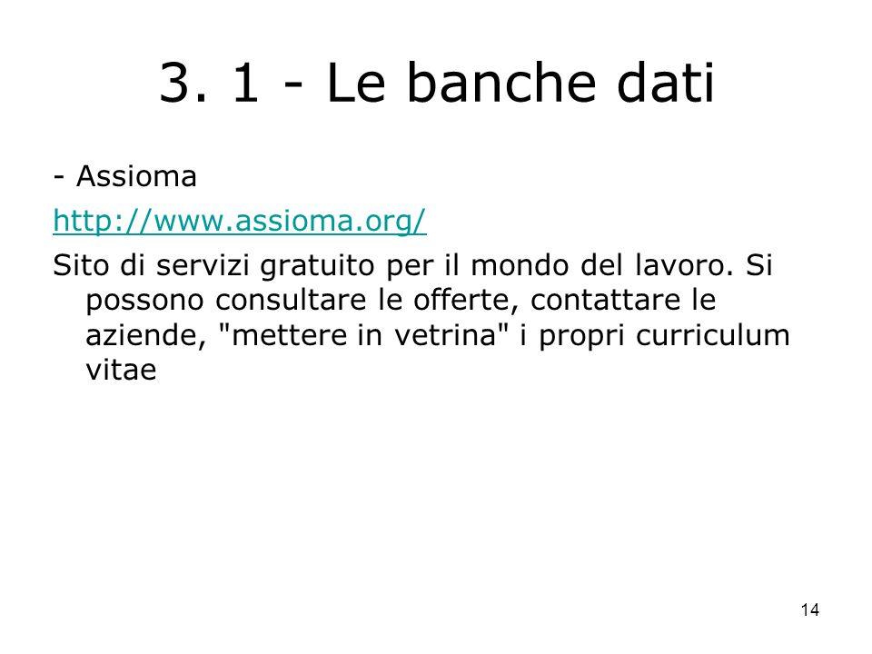 14 3. 1 - Le banche dati - Assioma http://www.assioma.org/ Sito di servizi gratuito per il mondo del lavoro. Si possono consultare le offerte, contatt