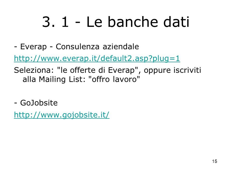 15 3. 1 - Le banche dati - Everap - Consulenza aziendale http://www.everap.it/default2.asp?plug=1 Seleziona: