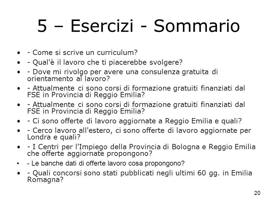20 5 – Esercizi - Sommario - Come si scrive un curriculum.