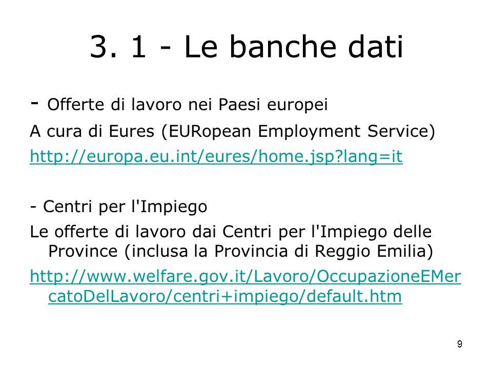 9 3. 1 - Le banche dati - Offerte di lavoro nei Paesi europei A cura di Eures (EURopean Employment Service) http://europa.eu.int/eures/home.jsp?lang=i