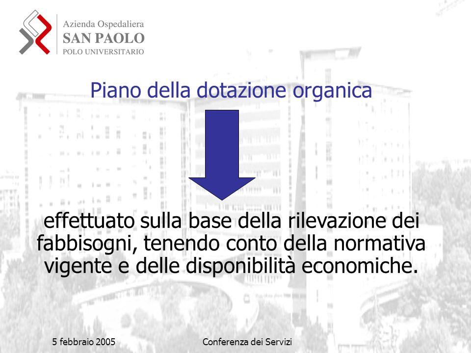 5 febbraio 2005Conferenza dei Servizi Piano della dotazione organica effettuato sulla base della rilevazione dei fabbisogni, tenendo conto della normativa vigente e delle disponibilità economiche.