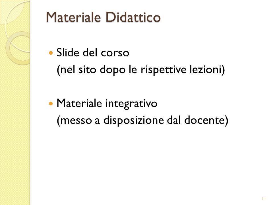 Materiale Didattico Slide del corso (nel sito dopo le rispettive lezioni) Materiale integrativo (messo a disposizione dal docente) 11