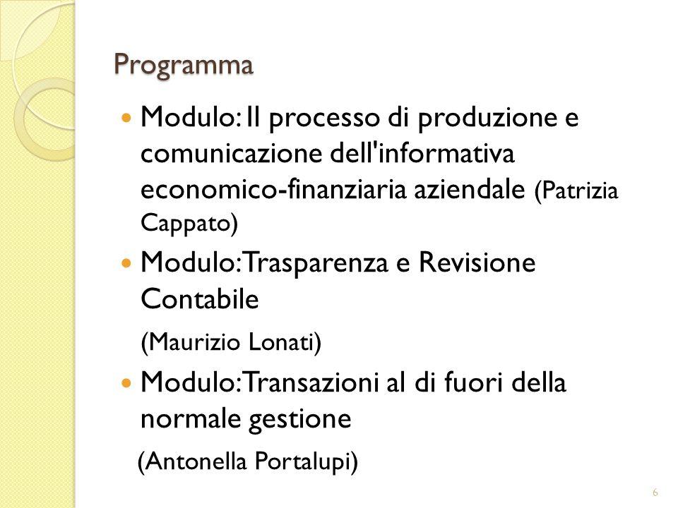 Programma Modulo: Il processo di produzione e comunicazione dell informativa economico-finanziaria aziendale (Patrizia Cappato) Modulo: Trasparenza e Revisione Contabile (Maurizio Lonati) Modulo: Transazioni al di fuori della normale gestione (Antonella Portalupi) 6