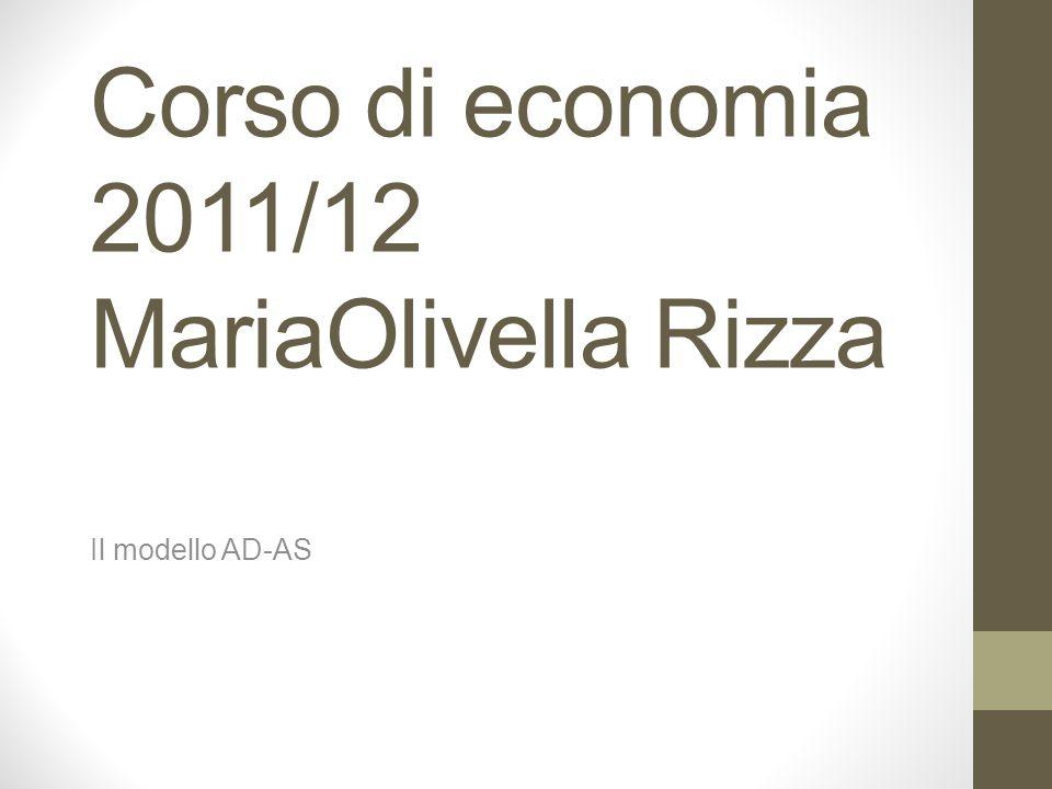 Corso di economia 2011/12 MariaOlivella Rizza Il modello AD-AS