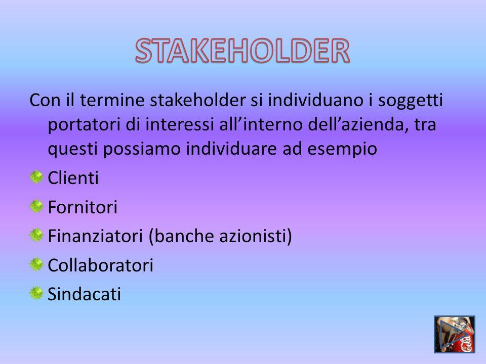 Con il termine stakeholder si individuano i soggetti portatori di interessi allinterno dellazienda, tra questi possiamo individuare ad esempio Clienti