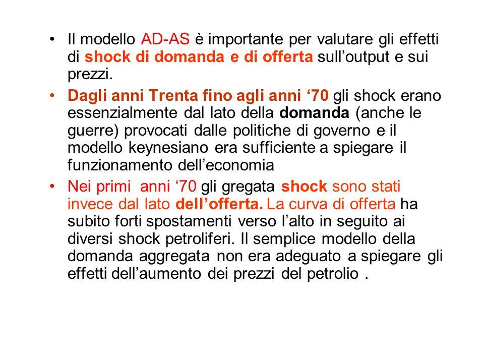 Modello AD-AS e politica economica Si può utilizzare il modello per valutare gli effetti delle politiche economiche sul reddito e sui prezzi. un aumen