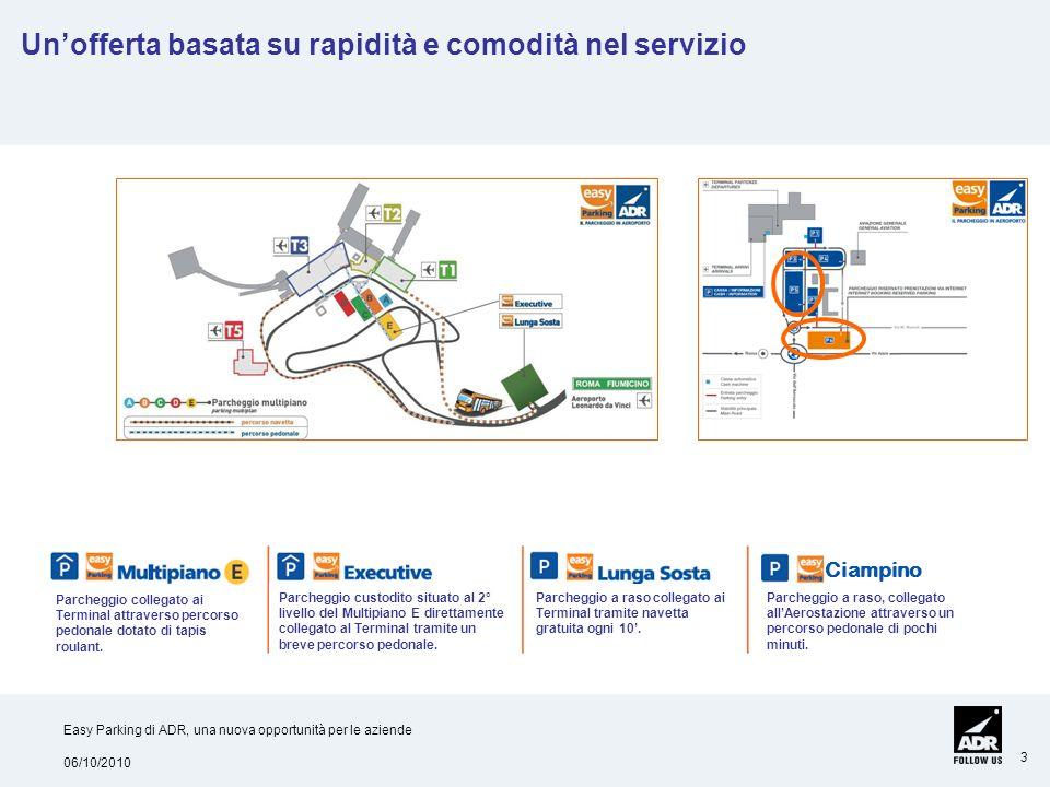 06/10/2010 Easy Parking di ADR, una nuova opportunità per le aziende 3 Unofferta basata su rapidità e comodità nel servizio Parcheggio custodito situa