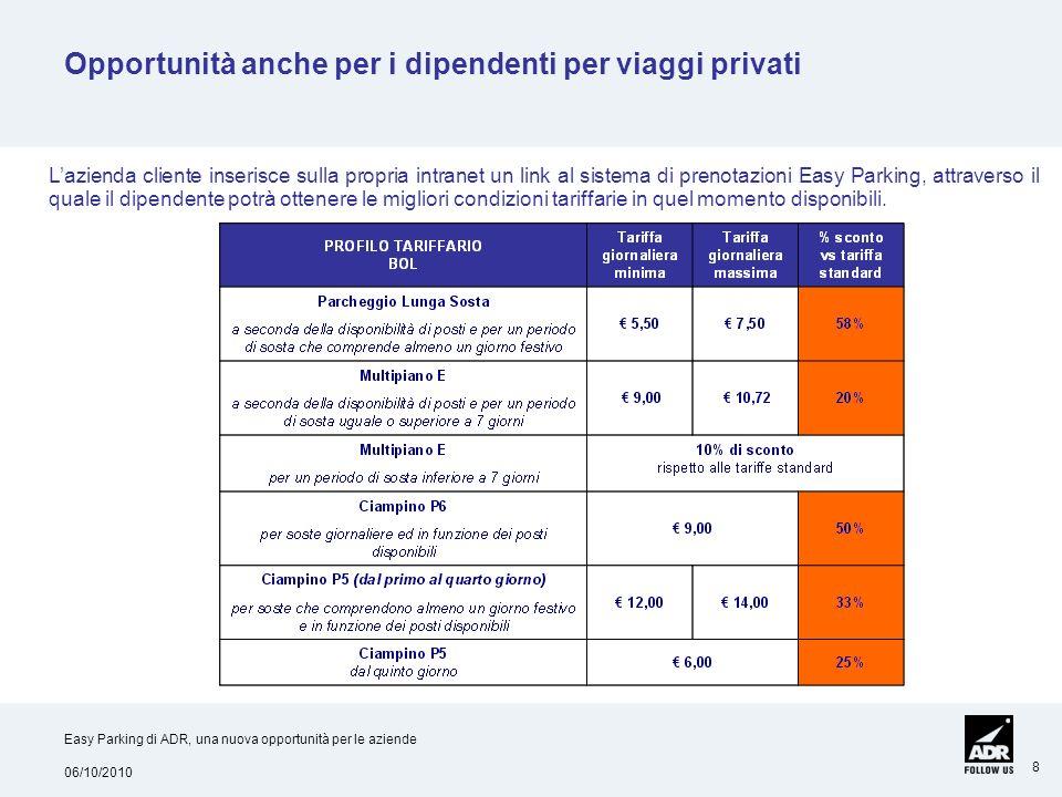 06/10/2010 Easy Parking di ADR, una nuova opportunità per le aziende 8 Opportunità anche per i dipendenti per viaggi privati Lazienda cliente inserisc
