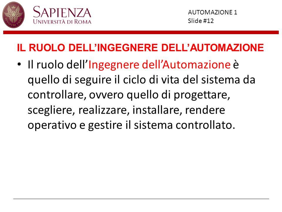 Facoltà di Ingegneria AUTOMAZIONE 1 Slide #12 IL RUOLO DELLINGEGNERE DELLAUTOMAZIONE Il ruolo dellIngegnere dellAutomazione è quello di seguire il cic