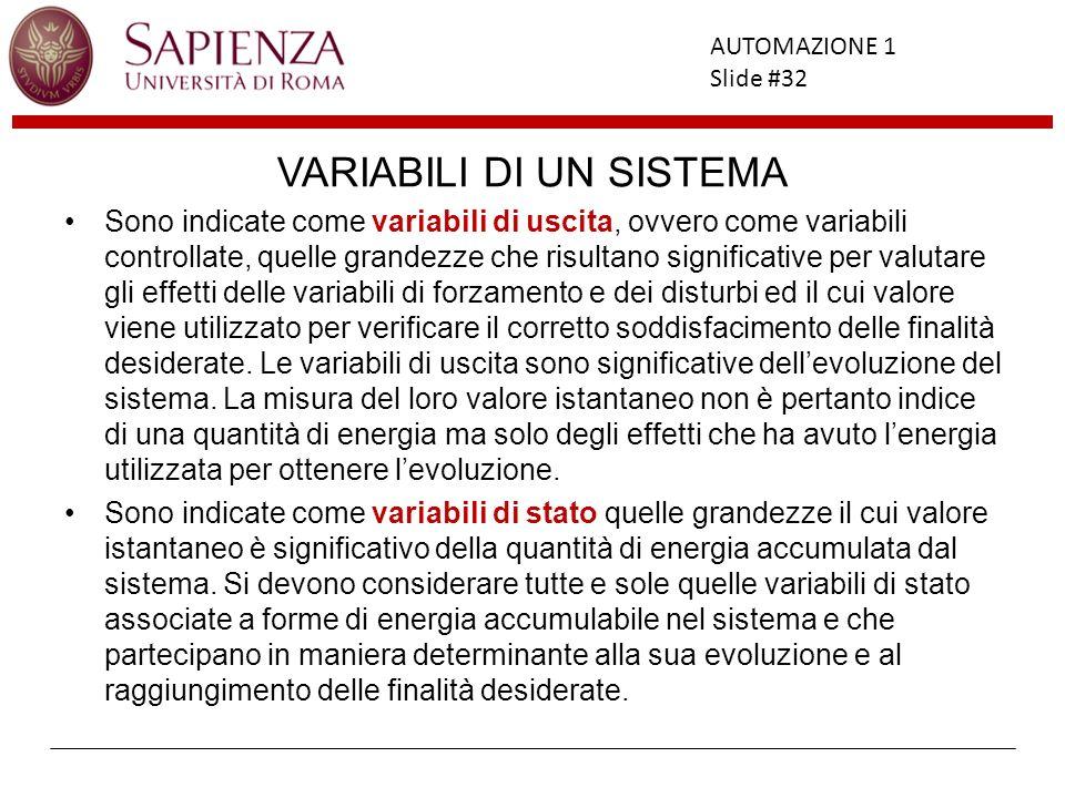 Facoltà di Ingegneria AUTOMAZIONE 1 Slide #32 VARIABILI DI UN SISTEMA Sono indicate come variabili di uscita, ovvero come variabili controllate, quell