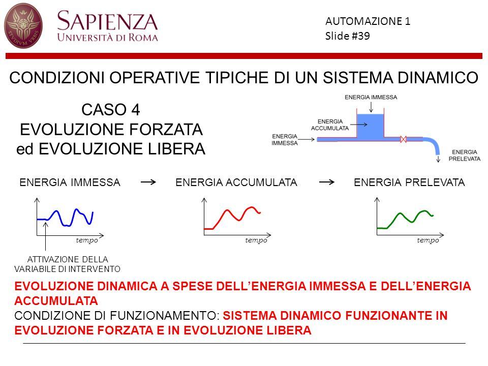 Facoltà di Ingegneria AUTOMAZIONE 1 Slide #39 CONDIZIONI OPERATIVE TIPICHE DI UN SISTEMA DINAMICO EVOLUZIONE DINAMICA A SPESE DELLENERGIA IMMESSA E DE
