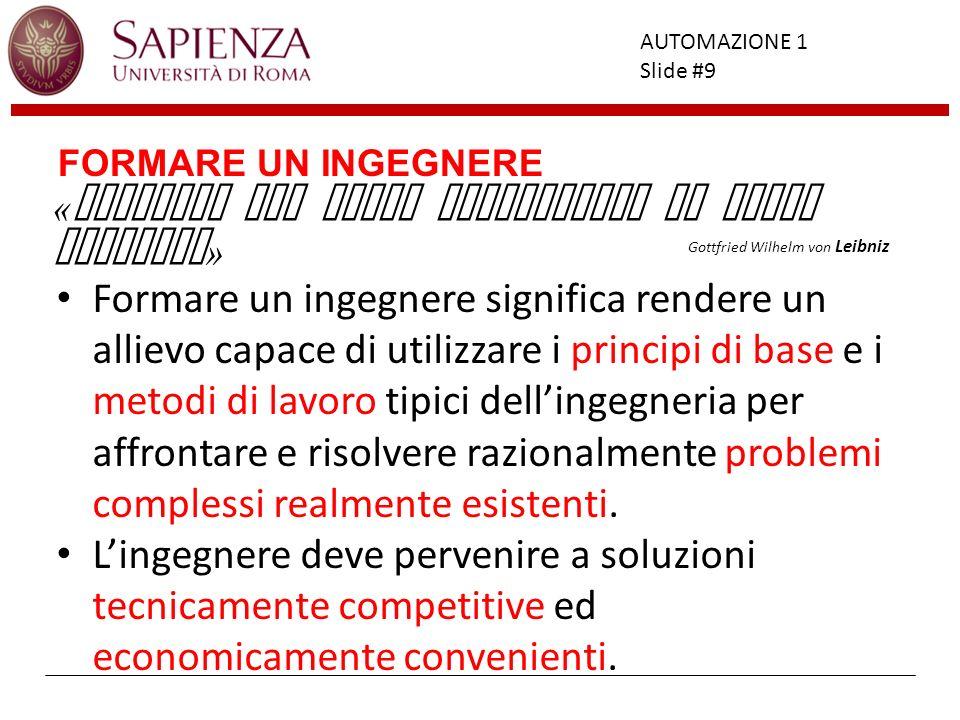 Facoltà di Ingegneria AUTOMAZIONE 1 Slide #20 ORGANIZZAZIONE DEI CORSI CAMPO ELEMENTI SINGOLI CONDUZIONE IMPIANTI COORDINAMENTO APPARATI GESTIONE SISTEMA COMPLESSO FONDAMENTI DI AUTOMATICA AUTOMAZIONE