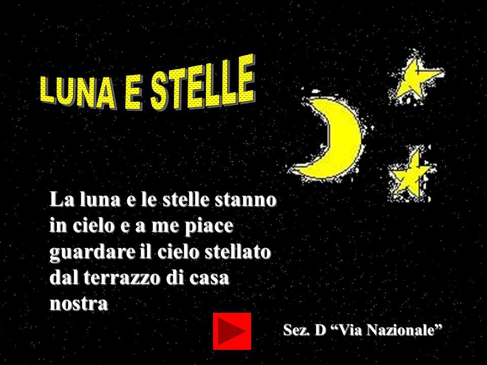 Sez. D Via Nazionale La luna e le stelle stanno in cielo e a me piace guardare il cielo stellato dal terrazzo di casa nostra