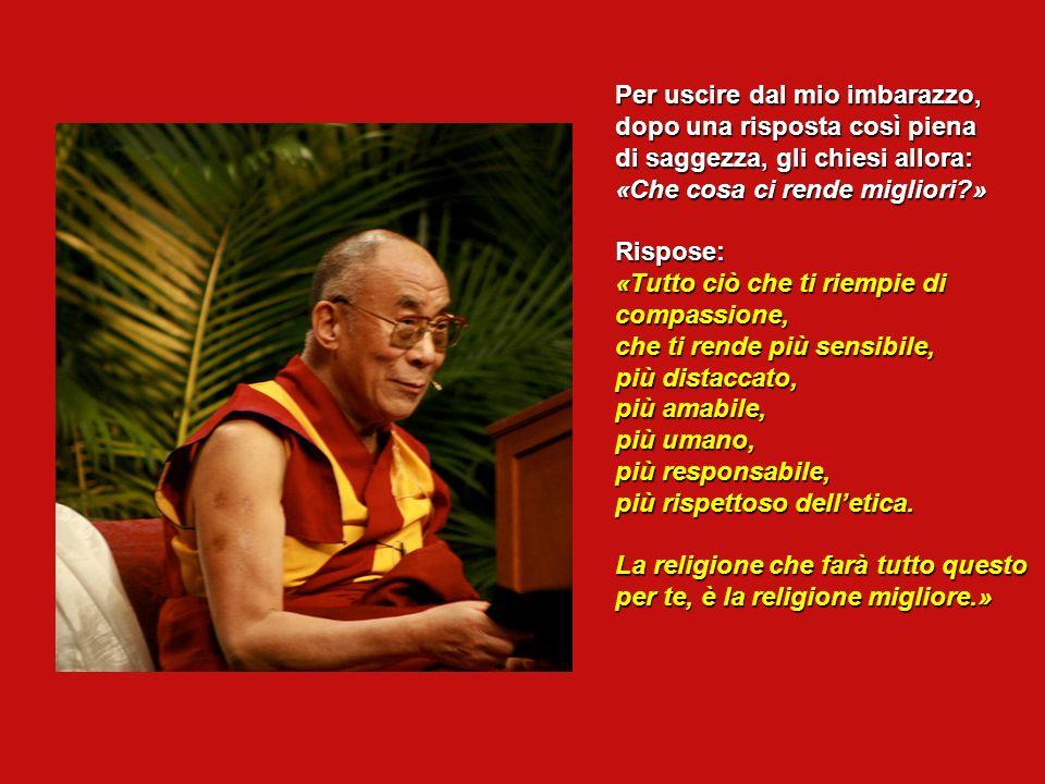 Pensavo che avrebbe risposto: «Il buddhismo tibetano» o «Le religioni orientali molto più antiche del cristianesimo.» Il Dalai Lama si è fermato, mi h