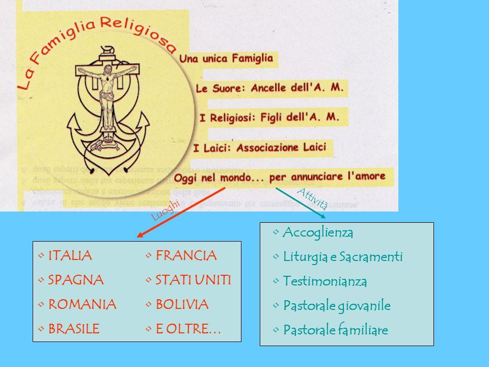 ITALIA SPAGNA ROMANIA BRASILE FRANCIA STATI UNITI BOLIVIA E OLTRE… Luoghi Attività Accoglienza Liturgia e Sacramenti Testimonianza Pastorale giovanile