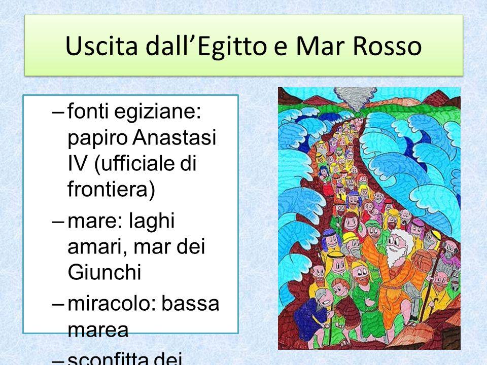 Uscita dallEgitto e Mar Rosso –fonti egiziane: papiro Anastasi IV (ufficiale di frontiera) –mare: laghi amari, mar dei Giunchi –miracolo: bassa marea