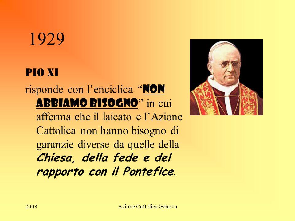 2003Azione Cattolica Genova 1929 LE DOLENTI NOTE Mussolini invia ai Prefetti lordine di chiudere i circoli dellA.C. perché lattività formativa religio