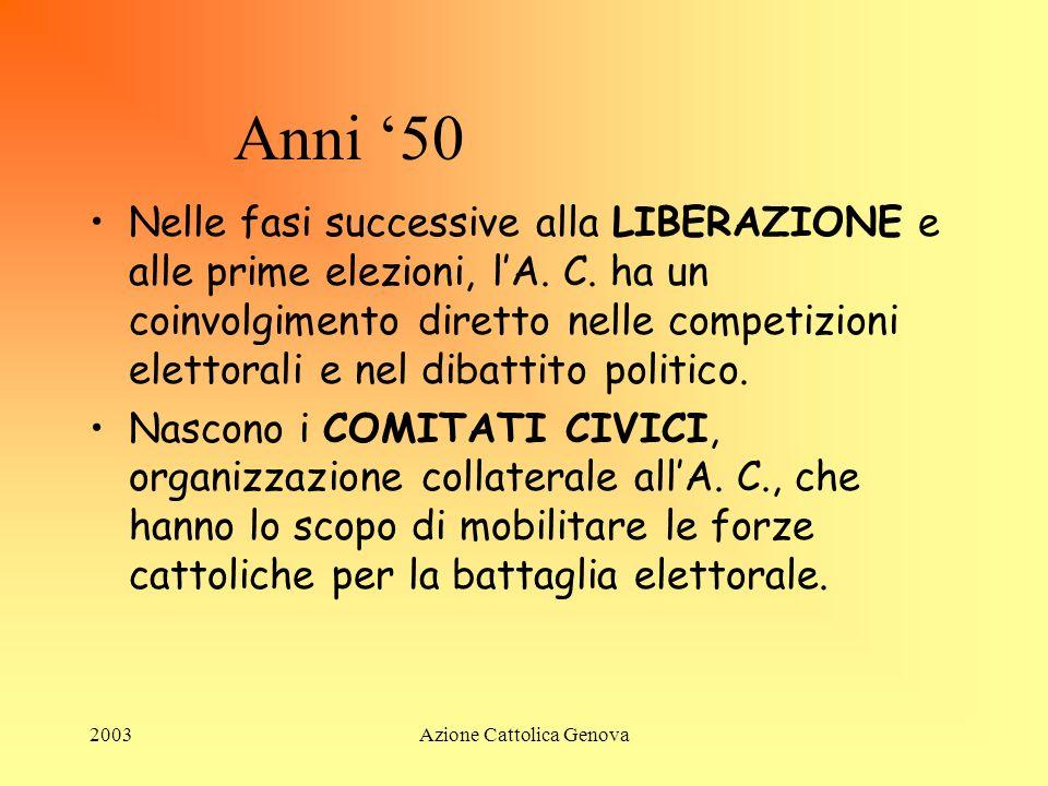 2003Azione Cattolica Genova DOPO GUERRA Alla fine della guerra lA. C. raggiunge una espansione elevatissima con i suoi 2.500.000 aderenti del 1946 che